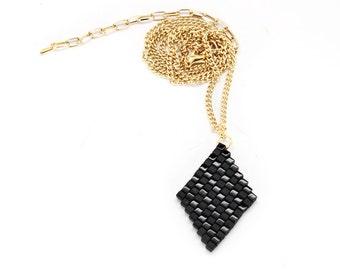 Black Matte & Glossy Beaded Diamond Necklace