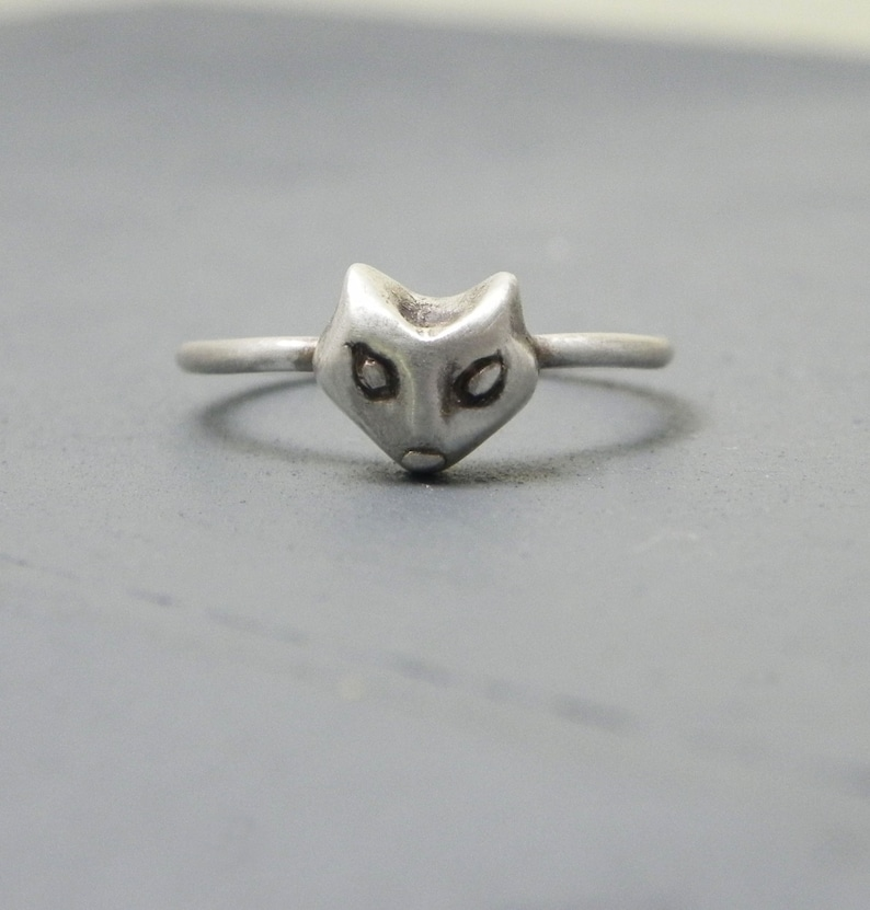 Tiny Fox Face Silver Stacking Ring The Little Prince image 0