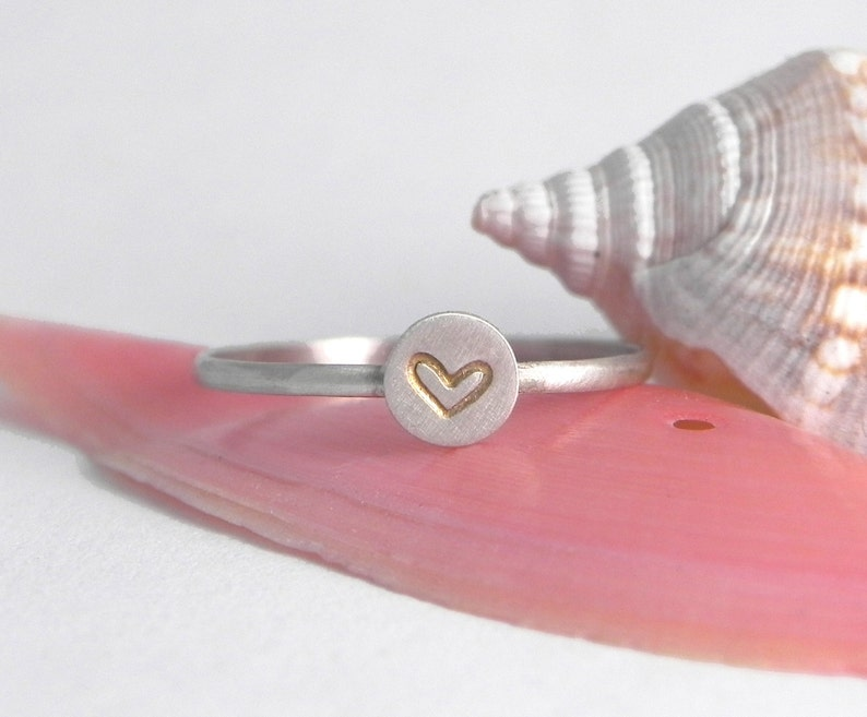 Silver Stamped Heart Stacking Ring image 0
