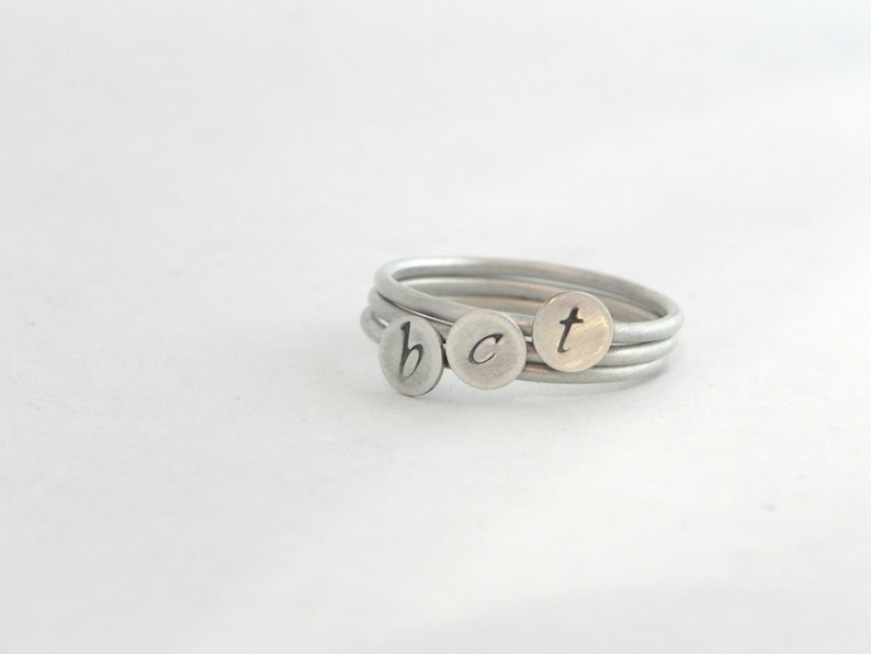 Personalized Silver Lower Case Initial Stacking Rings  Set of image 0