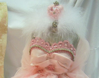 Pink Satin Dress Form with Crown and Rhinestones