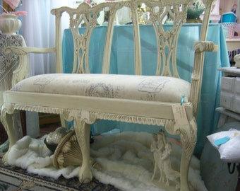 Marie Antoinette Style Bench, Hand Carved with Shabby Chic Finish, linen upholstery