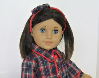 Navy Plaid Dress With Red Piping, Headband for 18-Inch Doll