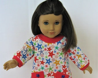Rising Star! White - Red- Blue Star Print Tunic and Leggings for 18 Inch Doll Like American Girl