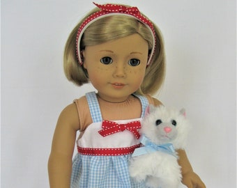 Sweet Seersucker! Blue Gingham Sundress with Red Bow, Headband for 18-Inch Doll/Fits American Girl