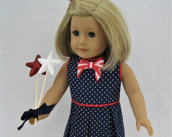 """Navy Dotted Pleated Dress with Red Piping for 18"""" Doll, such as American Girl"""