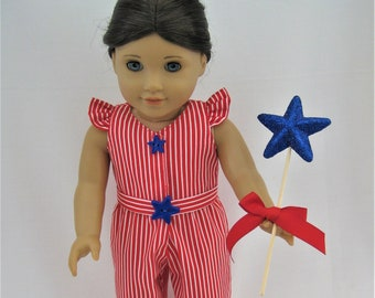 Jumpstart Your Week! Red/White Stripe Jumpsuit, Belt for 18-Inch Doll/Fits American Girl