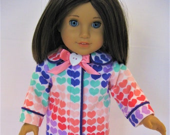 Coral Purple Heart Print Pajamas for 18-Inch Doll