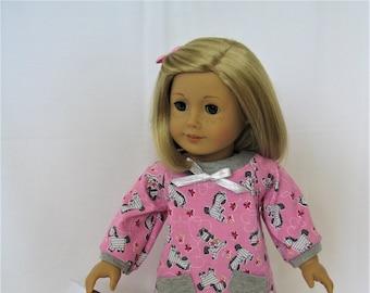 Z Is For Zebra! Pink Zebra Print Top, Gray Leggings for 18-Inch Doll/Fits American Girl