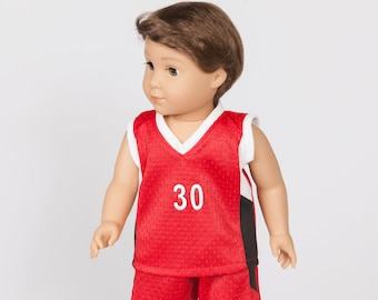 Red/White/Black Basketball Top and Shorts for 18-Inch Doll