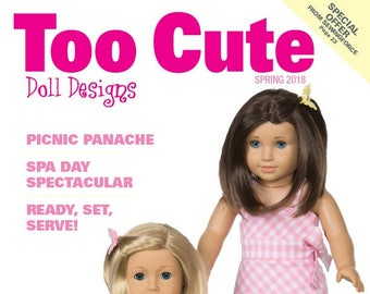 """Too Cute Doll Designs SPRING 2018  -  Sewing patterns for 18""""  dolls"""