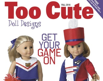 """Too Cute Doll Designs FALL 2016 Issue - Sewing patterns for 18"""" dolls"""