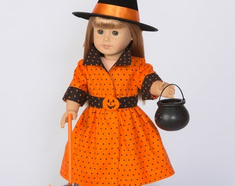 Bewitching! Orange and Black Dotted Halloween Outfit for 18-Inch Doll