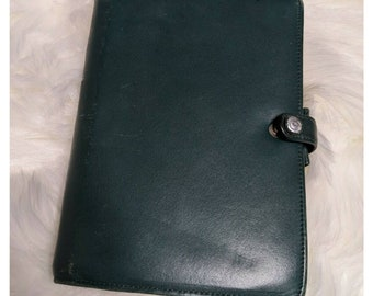 Vintage FILOFAX Leather Hunter Green Planner Travel Wallet Binder Page Classic Rare