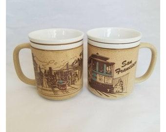 Vintage SAN FRANCISCO Trolley Skyline Cable Car Illustration Mug Pair Mico