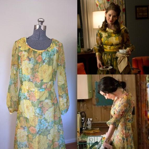 Toni Todd 70's Floral Maxi Dress