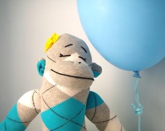 Sock Monkey Stuffed Animal, Cutomized, Baby Girl toy