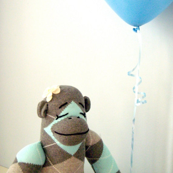 Girl Sock Monkey Stuffed Animal Custom Child Gift Etsy