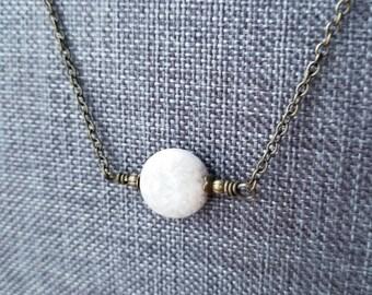 gunmetal bail Necklace white stone pendant STONE NECKLACE white necklace antique silver toggle gunmetal bail stone jewelry 0352
