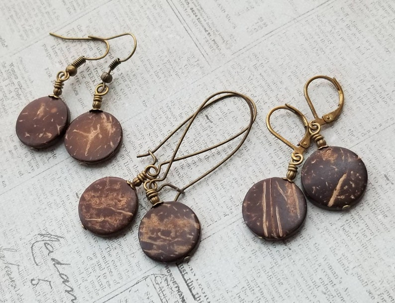 Minimal Wooden Brown Disc Earrings Long Rustic Wooden Disc Earrings Brass Kidney Wire Earrings Simple Carved Coconut Wood Disc Earrings