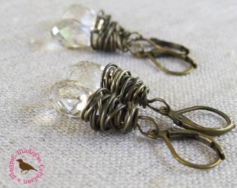 Champagne Crystal Drop Earrings, Golden Drop Earrings, Messy Wire Wrap Earrings, Vintage Bronze Drop Earrings, by MagpieMadness for Etsy