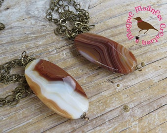 Large Brown and Cream Agate Oval Pendant, Banded Agate Pendant, Long Agate Pendant, Long Boho, by MagpieMadness for Etsy