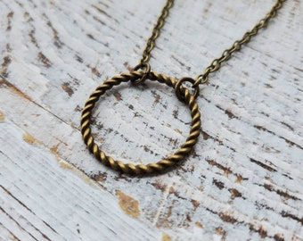 Minimal Antiqued Brass Ring Pendant Necklace, Simple Brass Ring Necklace, Brass Circle Earrings, Bronze Circle Pendant, Stacking Necklace