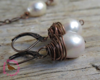 White Baroque Pearl Earrings, Copper, White Pearl Wire Wrap Earrings,  Messy Copper Wire Wrap Pearl Earrings, by MagpieMadness for Etsy
