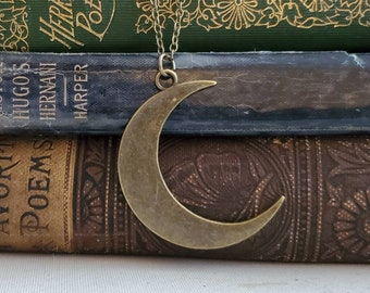 Minimal Bronze Crescent Moon Necklace, Bronze Moon Necklace, Crescent Moon Charm Necklace, Long Boho Moon Necklace