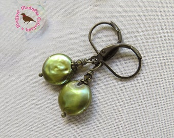 Olive Green Pearl Earrings, Olive Green Coin Pearl Earrings, Coin Pearl, Leverback Earrings, by MagpieMadness for Etsy