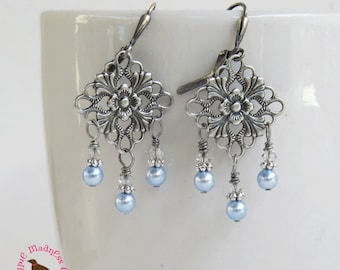 Baby Blue Pearl Chandelier Leverback Earrings, Pale Blue Pearl Dangle Earrings, Bridal Blue Pearl Earrings, MagpieMadness for Etsy