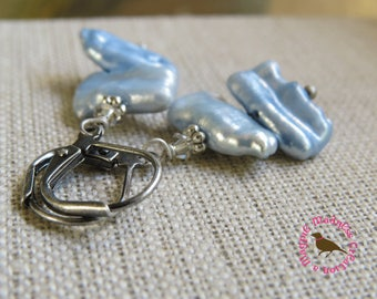 Petite Pale Blue Biwa Stick Pearl Earrings in Antiqued Silver, Leverback Earrings, Something Blue, by MagpieMadness for Etsy