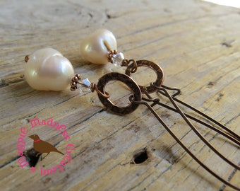 Creamy Baroque Pearl Earrings, Extra Long Dangle Copper, Messy Wire Wrap, Oxidized Copper Wire Wrap Pearl Earrings, MagpieMadness