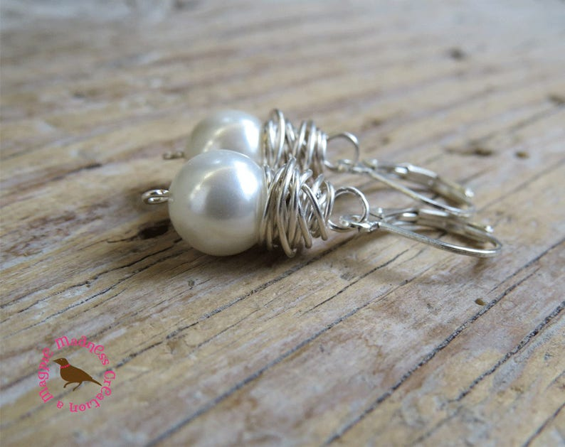 Sterling Wire Wrapped Dangle White Pearl Earrings Wire Wrap MagpieMadness for Etsy Messy Wire Wrapped White Pearl Earrings Pearls