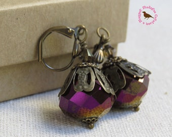Purple Ombre Neo Victorian Brass Dangle Leverback Earrings, Victorian, Purple Glass Vintage Brass Dangle Earrings by MagpieMadness for Etsy