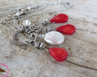 Long Boho Red and White Cluster Pendant Necklace, Boho Statement, Coral and Pearl Necklace, Long Red Necklace by MagpieMadness for Etsy