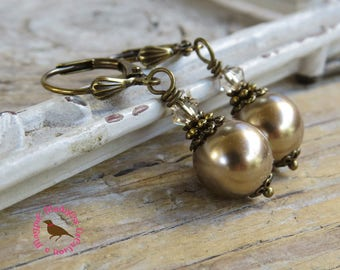 Bronze Pearl Leverback Earrings, Light Brown Pearl Earrings, Dangle, Neo Victorian Swarovski Pearl Earrings, by MagpieMadness for Etsy