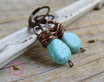 Petite Turquoise Dangle Earrings, Turquoise Drop, Turquoise Copper Messy Wire Wrap Earrings, Long Turquoise Earrings, by MagpieMadness