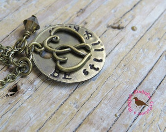 Be Still and Know Hand Stamped Brass Necklace, Be Still and Know Cluster Pendant Necklace, by MagpieMadness for Etsy
