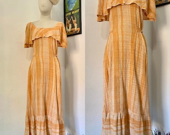 Carol Vintage 70s Day Dress \u2022 1970s Midi Dress in Cream with Floral Print Size Large