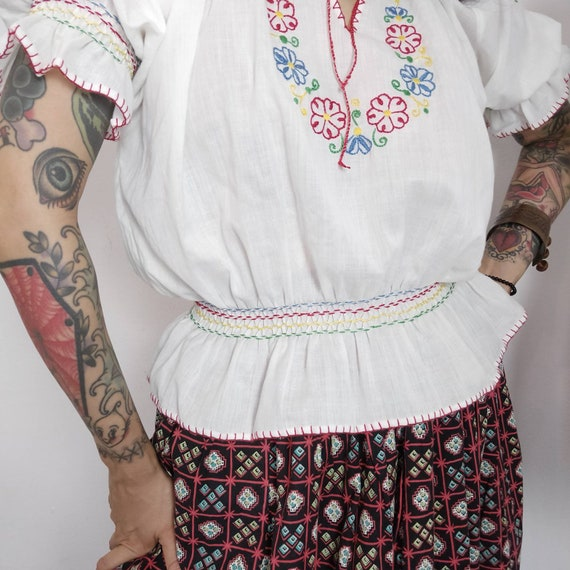 1960s does 1930s Hungarian Embroidered Peasant Bl… - image 8