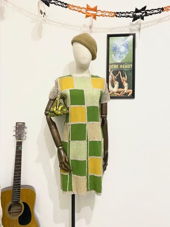 1960s Mod Patchwork Crocheted Mini Dress, 60s Mini