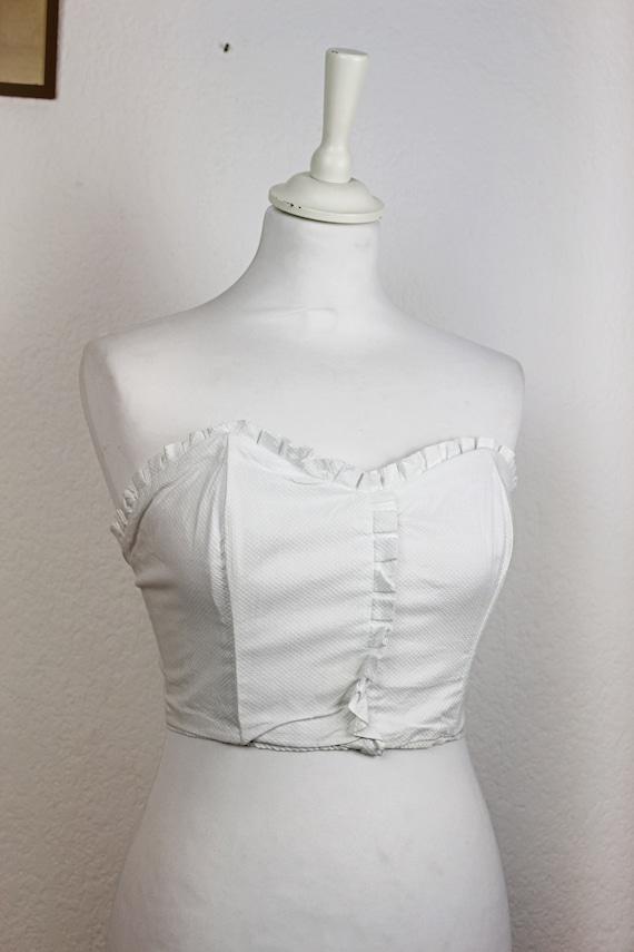 1950s White Cotton Bustier, 1950s Sun Top, Union L