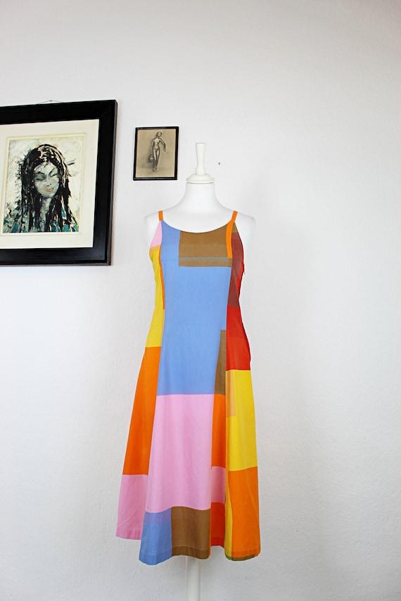 1970s-1980s Marimekko Color Block Cotton Dress, 1… - image 2