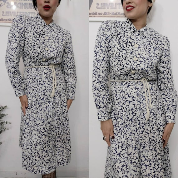 1930s Blue Floral Feedsack Dress, 30s Cotton Day d