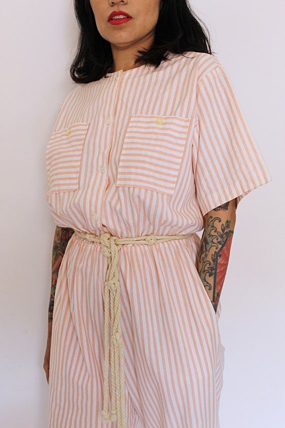 1980s Striped Cotton Jumpsuit, 1980s Jumpsuit