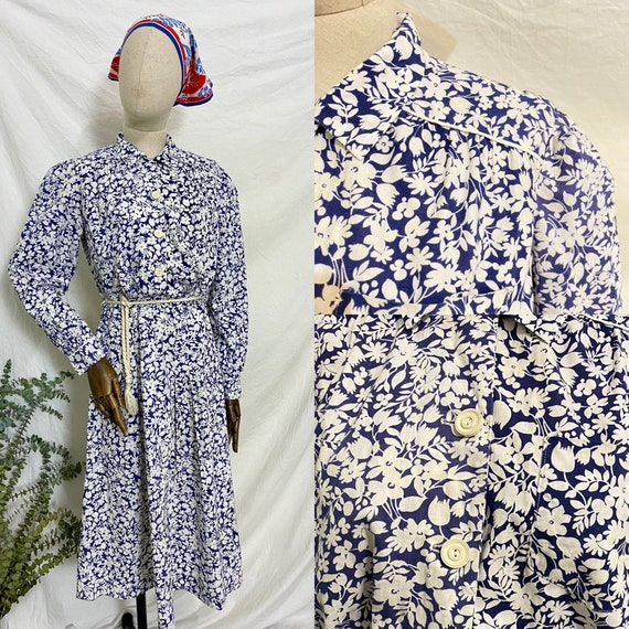1930s Blue Floral Feedsack Dress, 30s Cotton Day … - image 10