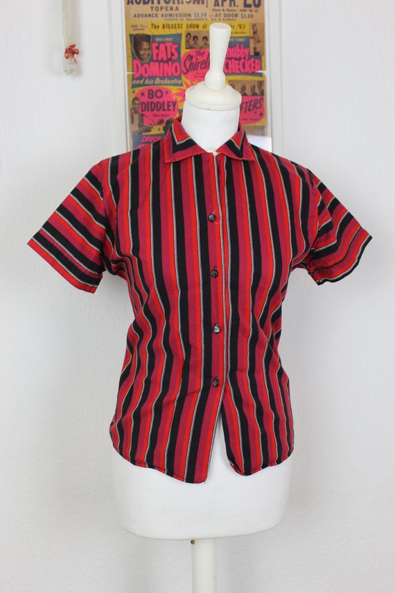 1950s Striped Cotton Blouse, 1950s Bad girl top, 1