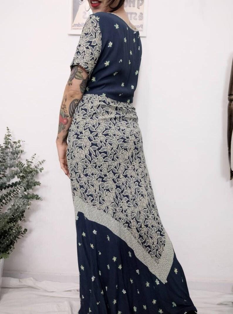 Romantic Dress Bohemian Maxi Dress Large 1990s Carol Little Floral Maxi Dress