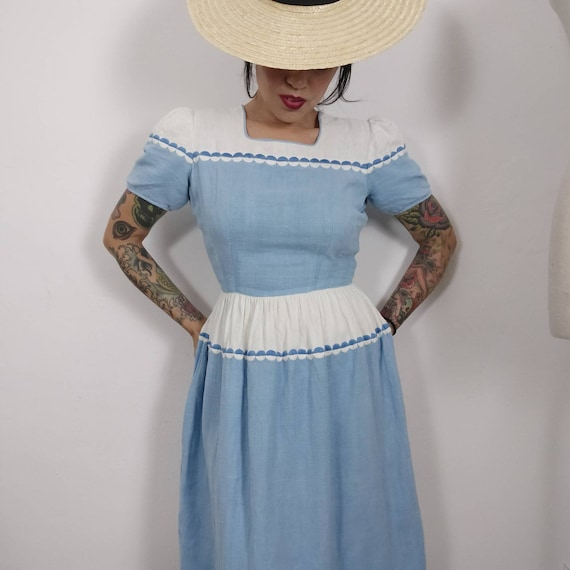 1940s Two Tone Embroidered Day Dress, 1940's Color
